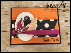 """stampin up, creep it real, spooky cat, pumpkin pie, basic black, very vanilla, berry burst, witch hat, online class, class kit, 3D, halloween, linen thread, black rhinestone jewels, 1/2"""" finely woven ribbon, 3/8"""" shimmer ribbon, solid baker's twine, mini sequin trim, 1/4"""" stitched edge ribbon"""