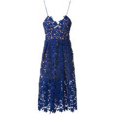 Self-Portrait Electric Blue Lace Dress ($315) ❤ liked on Polyvore featuring dresses, lace, self portrait dress, blue lace cocktail dress, blue v neck dress, blue cocktail dresses and lace dress