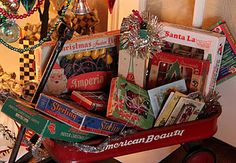 you could put some of the boys vintage looking old toys under the tree, like this little wagon.