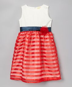 Take a look at the White & Red Stripe Organza Sash Dress - Toddler & Girls on #zulily today!