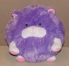 "11"" Moshi Purlpe Pink  White Kitty Cat Round BALL Stuffed PLUSH Fluffy Pillow #BrentwoodOriginals"