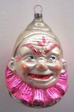 Vintage Victorian German Christmas Joey Clown Head Hand Blown Ornament