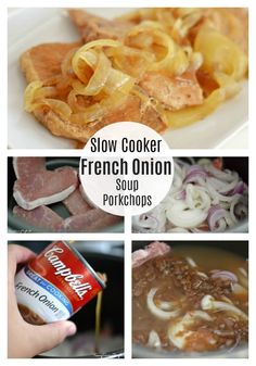 Slow Cooker French Onion Soup Pork Chops via Pork Sausage Recipes, Crockpot Recipes, Easy Recipes, Cooker Recipes, Delicious Recipes, Yummy Food, Instapot Pork Chops, Pork Loin Ribs, Pork Roast