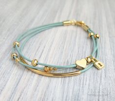 Gold Charm Leather Bracelet - Layered Bracelet, Gold Bar Bracelet, Multi Strand, Pastel Blue Cord, Stacked Bracelet - Heart and Lock