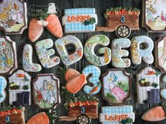 Peter Rabbit cookies #handpainted #customcookies #sperryoksugarart Peter Rabbit Cake, Cupcake Cookies, Cupcakes, Custom Cookies, Sugar Art, Sweet Treats, Hand Painted, Desserts, Baby