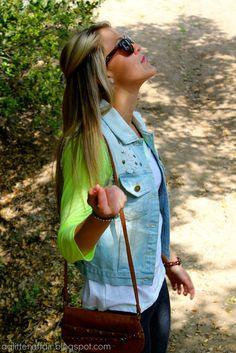 Spring outfit #neon #jeanvest #baseball tee check out the blog!