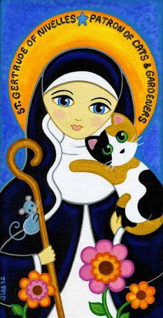 Ste Gertrude of Nivelles, painting by Jill West, That's my Cat on Etsy