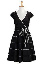 I <3 this Contrast stripe trim poplin dress from eShakti