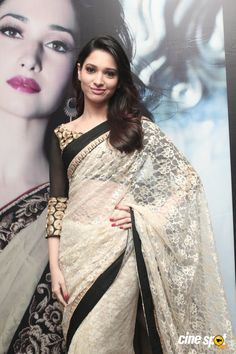 Tamanna in Off-white Saree Indian Attire, Indian Outfits, Indian Wear, Off White Saree, Indische Sarees, Desi Wear, Party Wear Sarees, Fancy Sarees, Bollywood Fashion