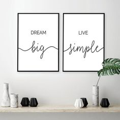 Minimalist Dream Big Live Simple Quote Canvas Paintings Black and White Bedroom Wall Art Prints Poster Pictures for Home Decor - White wall bedroom - Canvas Quotes, Wall Art Quotes, Quote Wall, Live Simple Quotes, White Wall Bedroom, Wall Art For Bedroom, Bedroom Simple, Canvas For Bedroom, Pictures For Bedroom Walls