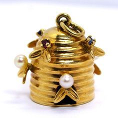 Whats the BUZZZZ all about?!? DeSumma and Wexler love custom making charms for you! Bee hive gold charm with semi precious stones and pearls