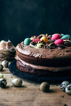 Chocolate Easter Eggs Cake with Chocolate Marshmallow Frosting