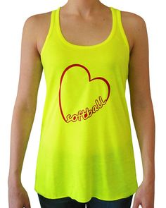 Softball Heart Racerback Women's Tank Top. Catchers, batters and pitchers will all love this neon shirt with a heart softball design.