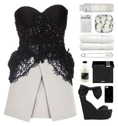 """""""Black Lace, White Skirt"""" by rockgirlfriend15 ❤ liked on Polyvore featuring River Island, Dsquared2, Privileged by J.C. Dossier, Casetify, Davines, MAKE UP FOR EVER, Kristin Cavallari, Linum Home Textiles, Muji and Korres"""