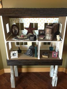 Repurposed Dollhouse Shelf