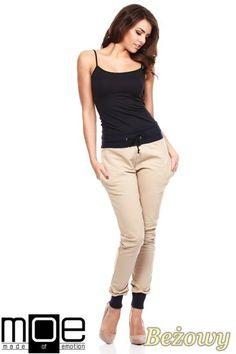 Stylowe spodnie damskie ze ściągaczami marki MOE.  #cudmoda #moda #styl #ubrania #odzież #spodnie #clothes