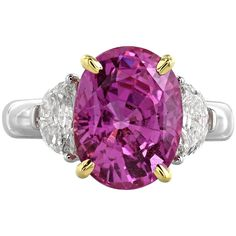 6.22 Carat Pink Sapphire and Diamond Ring | From a unique collection of vintage three-stone rings at https://www.1stdibs.com/jewelry/rings/three-stone-rings/
