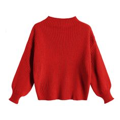 Plain Mock Neck Lantern Sleeve Sweater Red (100 PLN) ❤ liked on Polyvore featuring tops, sweaters, zaful, red top, mock neck top, red sweater and mock neck sweater