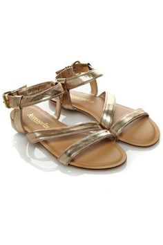 NEW Monsoon Accessorize Lucy Gold Shimmer Faux Leather Sandals 3 to 8 RRP £32