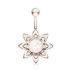 Rose Gold Starburst Opal Sparkle Flower Belly Button Ring (White)