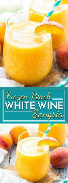 Frozen Peach White Wine Sangria is a quick and easy alcoholic beverage to whip up during those hot summer months! Give your sangria a twist by using frozen peaches and your favorite white wine to make an epic poolside drink. Frozen Sangria, Frozen Drinks, Frozen Drink Recipes, Holiday Drinks, Party Drinks, Sangria Recipes, Wine Recipes, Margarita Recipes, Cocktail Recipes