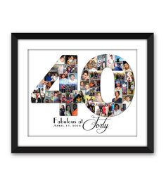 Forty 40 fortieth Big Thirty 30 twenty-One 21 Special Birthday Digital Printable Custom Any 1 or 2 digit Number Photo Collage - Geburtstag - Gift 40th Bday Ideas, 40th Birthday Parties, Special Birthday, 40 Birthday, Collage Foto, First Anniversary, Print Store, Birthday Photos, Birthday Collage