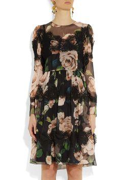 Lovely floral print. (Dolce & Gabbana|Floral-print silk-blend dress|NET-A-PORTER.COM)