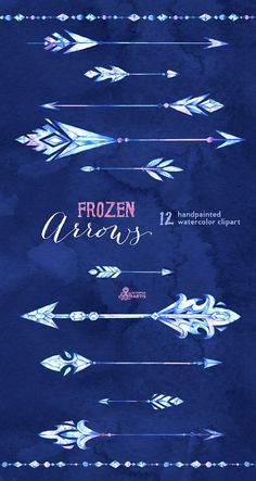 Frozen Arrows. 12 Watercolor Hand painted Clipart by OctopusArtis
