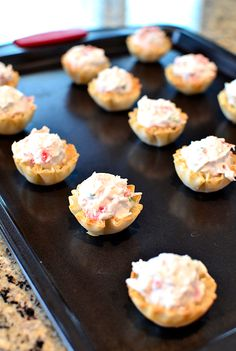 Crab Rangoon Bites are crispy phyllo shells stuffed with a creamy crab filling. The perfect party bite! Crab Appetizer, Finger Food Appetizers, Appetizers For Party, Appetizer Recipes, Shrimp Appetizers, Healthy Appetizers, Party Recipes, Finger Foods, Phyllo Cups