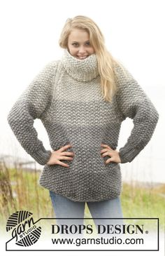 Wrap yourself in softness and warmth! #knit jumper with stripes in seed st, raglan and detachable collar in Eskimo