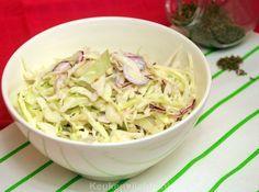 21- Witte koolsalade rediënten 1/4 witte kool, flinterdun geschaafd 1/2 rode ui, flinterdun geschaafd 2 el mayonaise 2 el karnemelk 2 el witte balsamico-, of wijnazijn 1 tl komijnzaadjes 1 tl suiker zout en peper uit de molen DSC_4060_714x600 Lunch Recipes, Real Food Recipes, Salad Recipes, Vegetarian Recipes, Healthy Recipes, Different Salads, Savory Salads, Ras El Hanout, Bbq