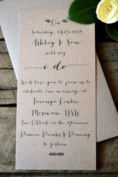 Rustic weddings are really the easiest to blend in simplicity, as it is naturally more of a no-frills theme. These long Kraft paper invites  have just enough decoration with the cursive script font and miniscule leaf icons. | See more delightfully simple wedding invitations here: http://www.mywedding.com/articles/delightfully-simple-wedding-invitations/