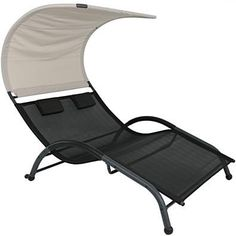 Double Chaise Lounger with Canopy Shade and Removable Pillows - Sienna - Sunnydaze Decor, Gray Canopy Bedroom, Door Canopy, Canopy Tent, Beach Canopy, Canopy Curtains, Tents, Backyard Canopy, Canopy Outdoor, Cabanas