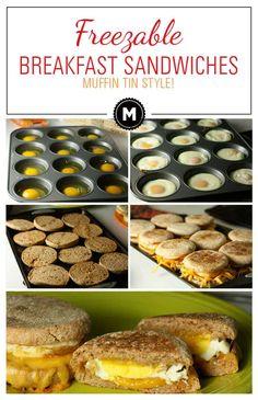 Muffin Tin Breakfast, Frozen Breakfast, Breakfast Dishes, Breakfast Recipes, Freezer Breakfast Sandwiches, Breakfast Casserole, Quick Breakfast Ideas, Meal Prep Breakfast, Healthy Breakfast On The Go