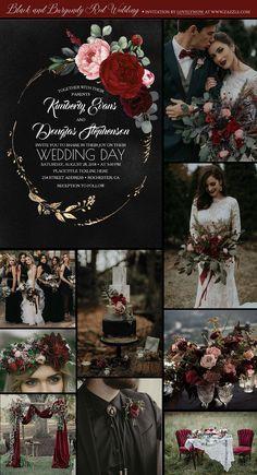 black wedding Decorations - Black and Burgundy Red Wedding Boho Wedding, Wedding Day, Geek Wedding, Magical Wedding, Wedding In The Woods, Farm Wedding, Wedding Tips, Spring Wedding, Grunge Wedding