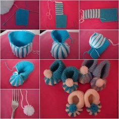 Homemade baby booties are perfect gifts for babies. If you know the basics of knitting, here is a pictured tutorial for you to DIY knitted baby booties.How to DIY Cute Pom-pom Decorated Knitted Baby BootiesFree Crochet Sock Patterns - Beautiful Croch Baby Knitting Patterns, Crochet Socks Pattern, Baby Patterns, Crochet Patterns, Crochet Diy, Crochet Gifts, Crochet Ideas, Pom Pom Tutorial, Diy Tutorial