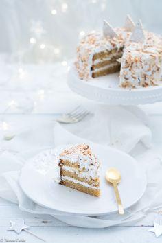 Un gâteau qui ravira vos convives pour les fêtes de Noël... Pour un gâteau de 23 cm de diamètre Pour le gâteau : 260g de farine 220g de beurre pommade 2 cc de levure 1/2 cc de sel 350g de sucre bio...