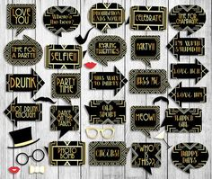 35 1920s Party Props Gatsby Printable by YouGrewPrintables on Etsy