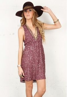 Alice + Olivia Violet Sequin Halter Dress in Dusty Plum  Sequined chiffon mini dress featuring gathered elastic at empire waist and plunging V-neckline and back.