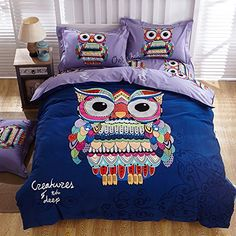 Cliab Owl Bedding Queen Size For Girls Boys Teen Purple Blue Red 100 Brushed Cotton Duvet Cover Set 4 Pieces >>> Click image to review more details.