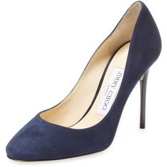 Jimmy Choo Women's Esme 100mm Suede Pump - Dark Blue/Navy, Size 39.5 ($399) ❤ liked on Polyvore featuring shoes, pumps, navy suede shoes, high heeled footwear, navy shoes, suede shoes and high heel shoes