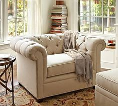 Chesterfield Upholstered Armchair from Pottery Barn. Shop more products from Pottery Barn on Wanelo. Furniture, Upholstered Sofa, Pottery Barn Chair, Chesterfield Upholstered Sofa, Chesterfield, Slipcovers For Chairs, Pottery Barn Living Room, Upholstered Arm Chair, Upholstered Chairs