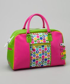 Take a look at this Neon Green & Pink Monkey Polka Dot Duffle Bag by Paul Frank on #zulily today!