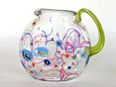 Hand Blown Glass Comet Pitcher by Harry Stuart RPM Studios. Art Of Glass, Glass Jug, Glass Pitchers, Glass Vessel, Modern Pitchers, Through The Looking Glass, Dinnerware Sets, Ginger Jars, Hand Blown Glass