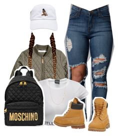 """Ready"" by queen-tiller ❤ liked on Polyvore featuring H&M, Moschino, Timberland, Stella & Dot, women's clothing, women, female, woman, misses and juniors"