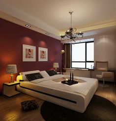 maroon bedroom wall (i like the pillow arrangement, too.) | new