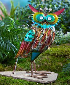 Owl Garden Stake   9w X 5.25 D X 12.25 H   Single Wing, Head
