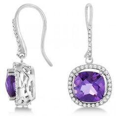 Cushion Amethyst & Round Diamond Earrings 14k White Gold 7.52ctw-Allurez.com