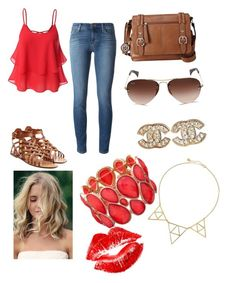 """""""Sassy fox"""" by daniellewada ❤ liked on Polyvore featuring J Brand, Valentino, Relic, Ray-Ban, Chanel, Ashley Stewart, Jules Smith, Manic Panic, women's clothing and women"""