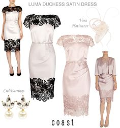 Coast Luma Duchess Satin and Lace Cocktail Dress in Pink or Pink with Black Lace Neckline and Hem